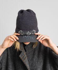 Béret en maille avec visière brodée Gris moyen chiné Femme 192MA4352-06