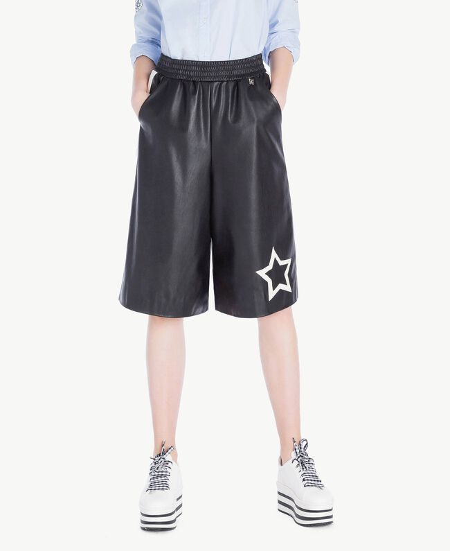 Cropped trousers Two-tone Black / Parchment White Woman JS82CE-01