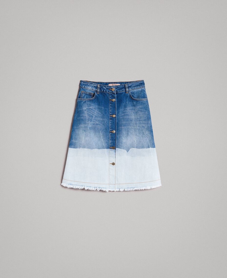 Dip-dye denim skirt Bleached Shades Woman 191TT2054-0S