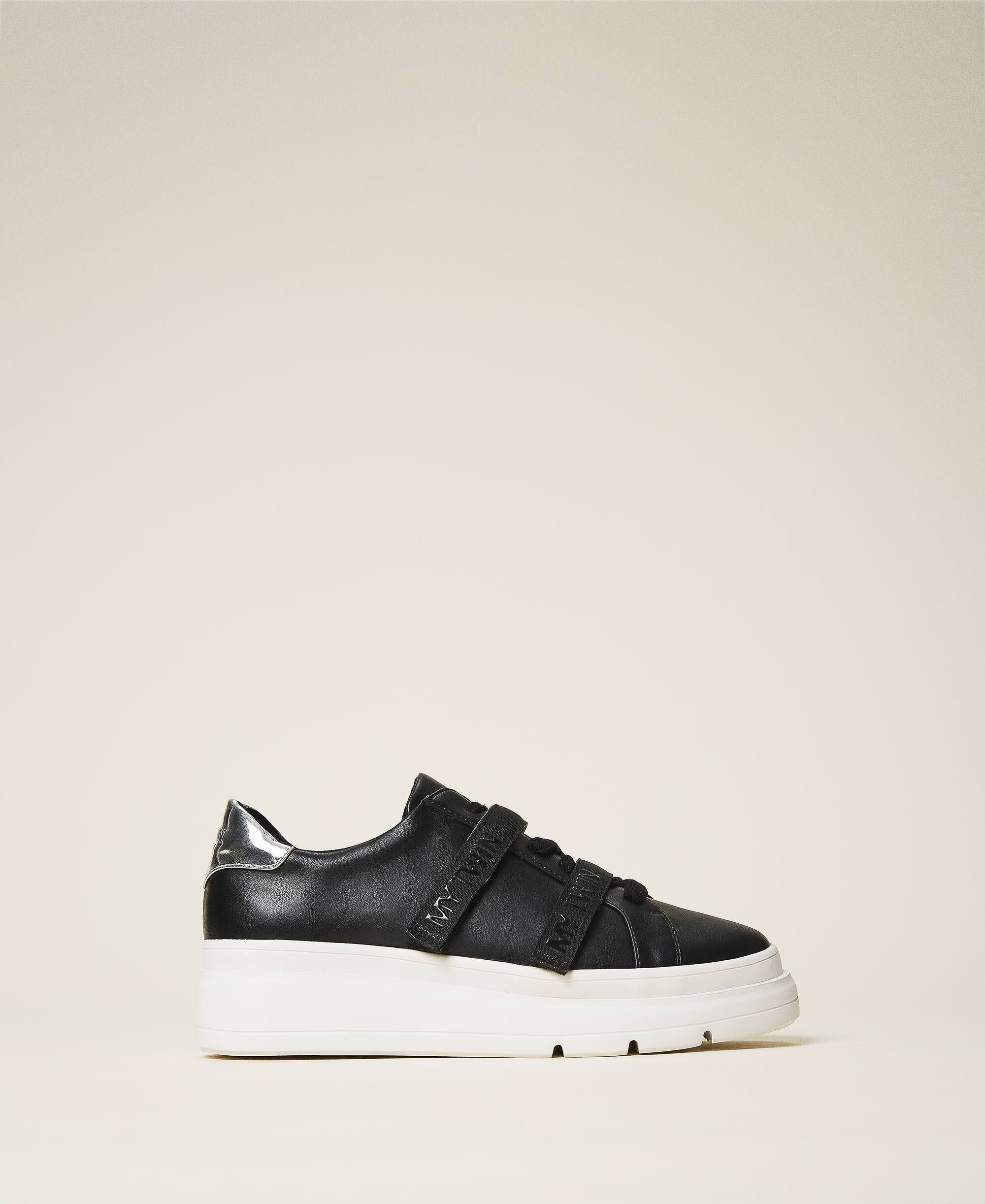 Faux leather trainers with logo