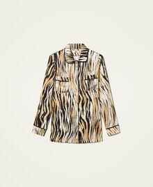 """Satinhemd mit Animalprint Print """"Tiger"""" Frau 212LL2ELL-0S"""