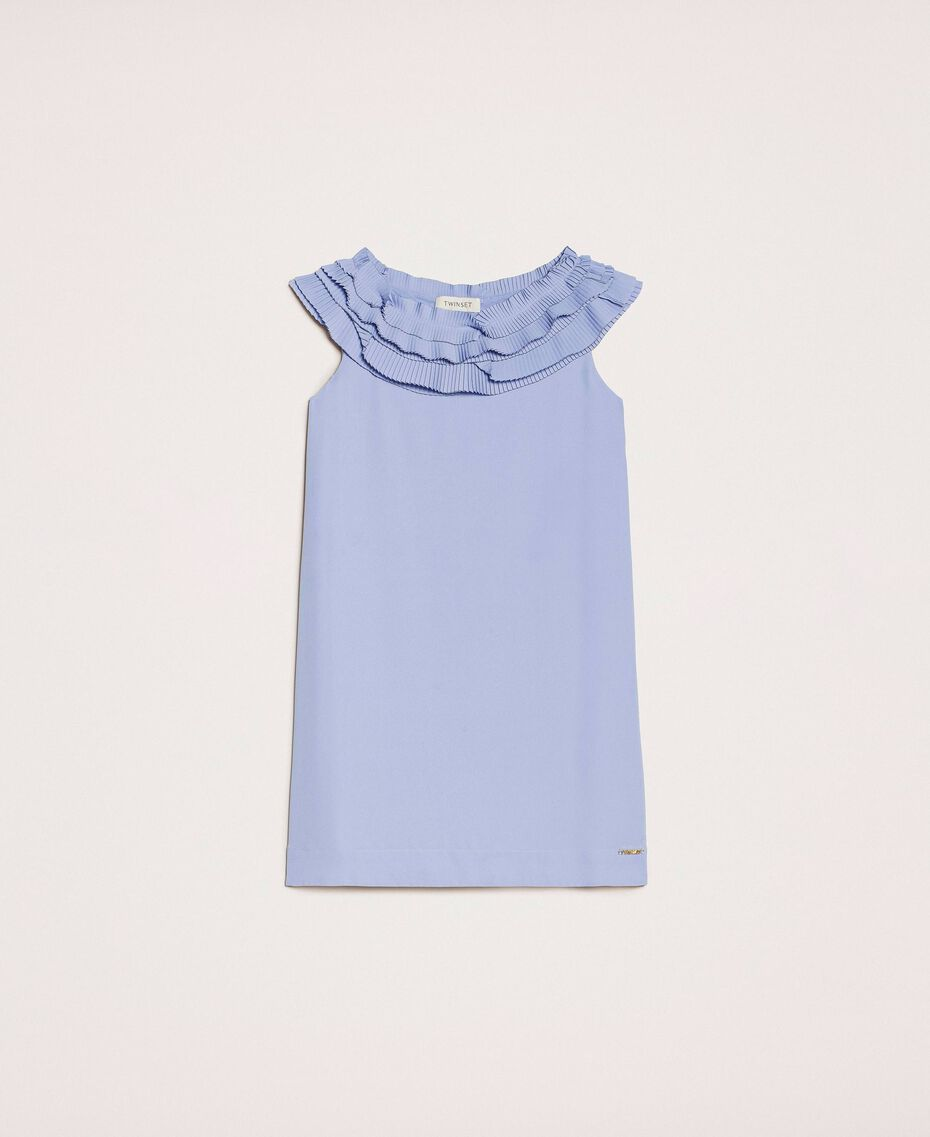 "Georgette dress with pleated ruffles ""Ice"" Dark Blue Child 201GJ2QE0-0S"