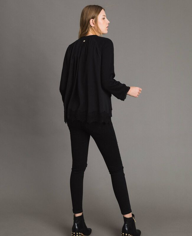 Sweatshirt with lace details Black Woman 191MP2324-03