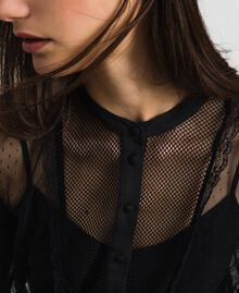 Blouse with tulle, lace and plumetis patch Black Woman 192TP2290-04