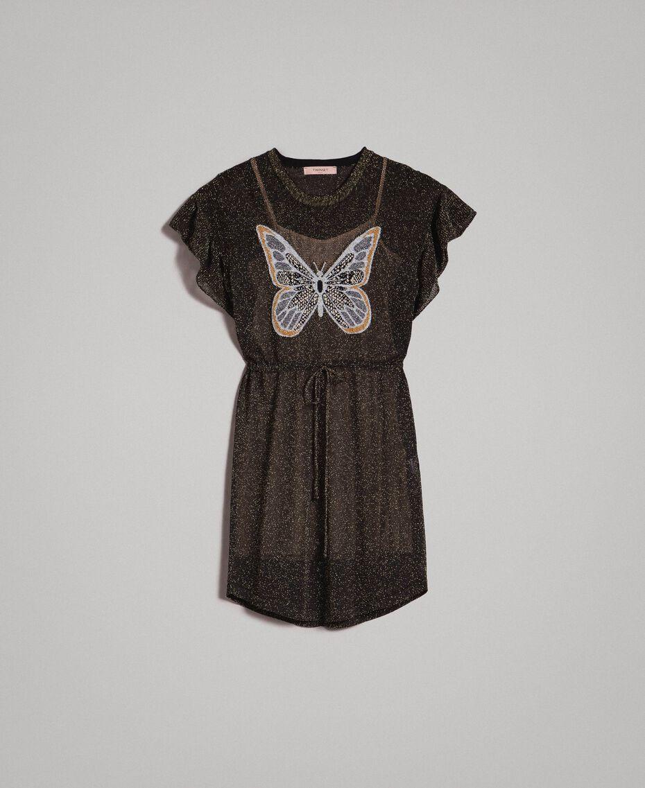 Lurexkleid mit Schmetterling Lurex Schwarz Frau 191TT3100-0S