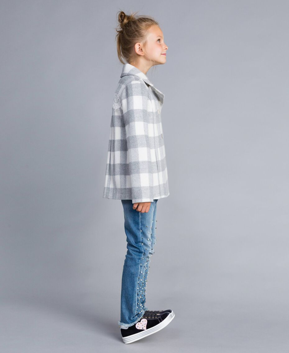"Short check coat ""Grey Check"" / White Jacquard Child GA82CN-02"