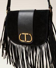 Leather shoulder bag with fringes Black Woman 212TB7120-03