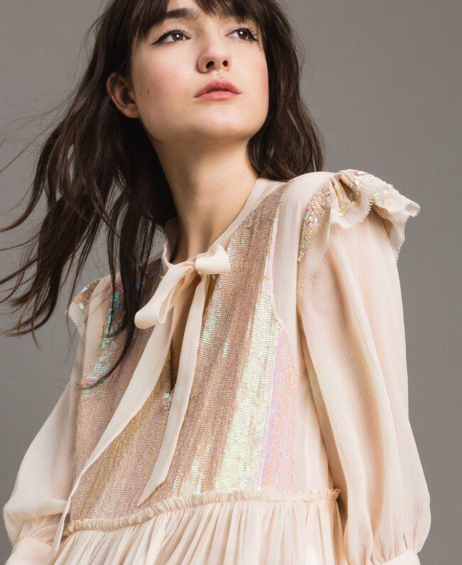 Georgette-Bluse mit Pailletten Blütenknospenrosa Frau 191TP2582-04