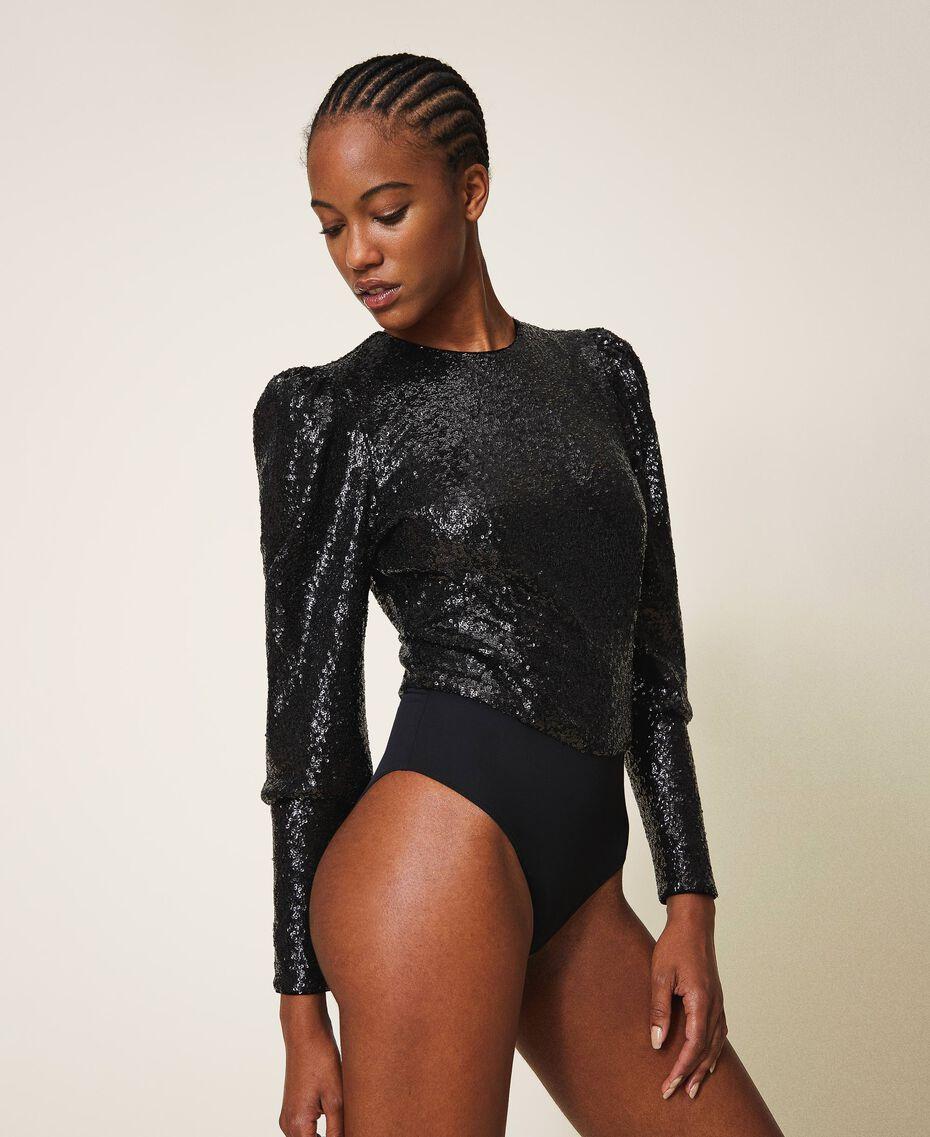 Body avec sequins Noir Femme 202TT2262-02