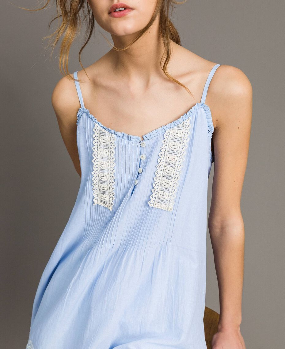 """Voile top with broderie anglaise embroidery Two-tone """"Atmosphere"""" Light Blue / Ecru Woman 191ST2110-01"""
