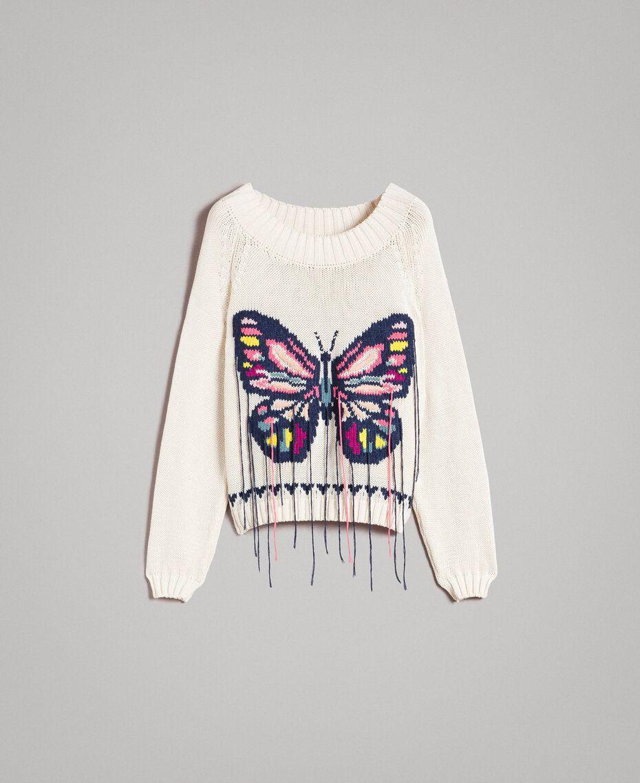 Kastig geschnittener Pullover mit handgesticktem Schmetterling Helles Ecru Frau 191TP3110-0S