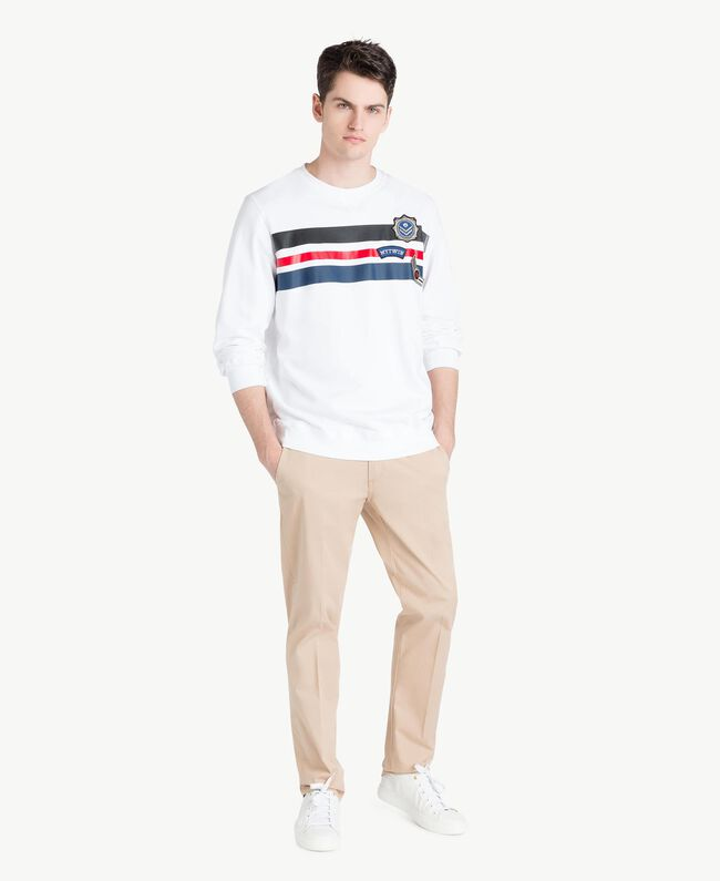 Sweatshirt mit Streifen Mattweiß Mann US821P-05