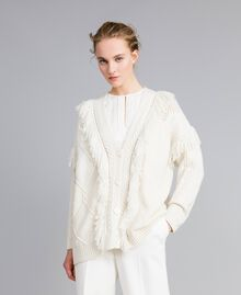 Knitted maxi cardigan with fringes White Snow Woman PA83BB-02