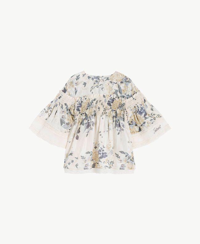 Bluse mit Blumenprint Blumenprint / Helles Rauchgrau Kind GS82E3-01