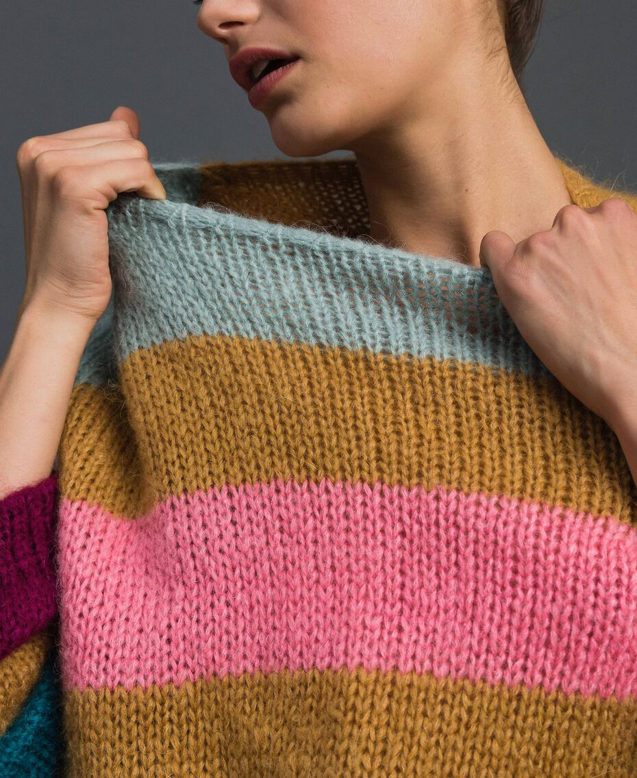 Maxi jumper with multicolour stripes Irish Cream Hazelnut Woman 192MP3221-05