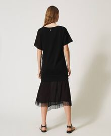 Linen blend dress with lace Black Woman 211TT3151-04