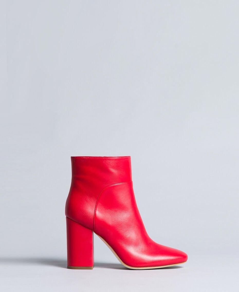 Bottines en cuir Rouge Coquelicot Femme CA8PL1-01