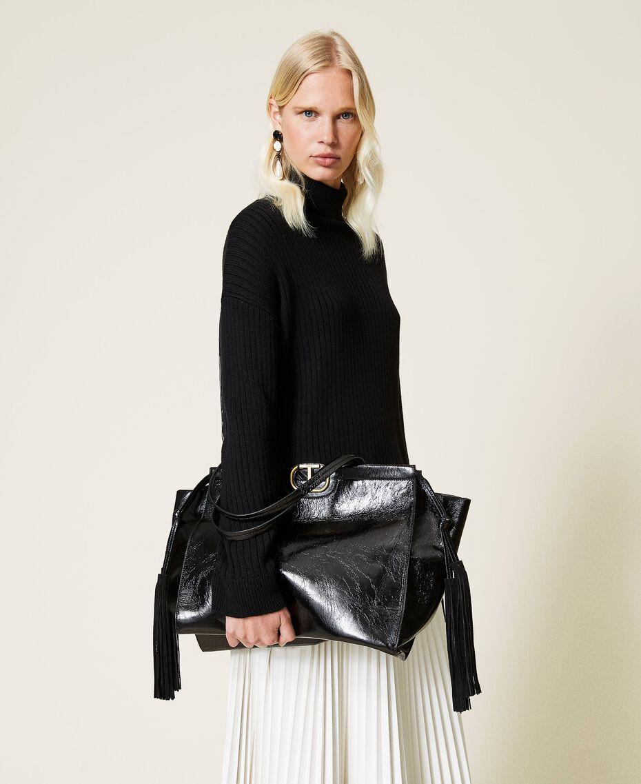 Shopper aus Leder mit Fransen Schwarz Frau 212TB7110-0S