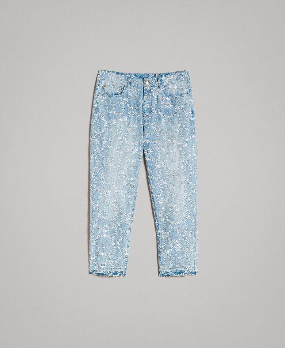 Girlfriend-Jeans mit Lochstickerei Denimblau Frau 191MT2162-0S