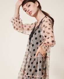 Tulle dress with lace and belt Nude Beige Polka Dot Print Woman 202ST2064-04