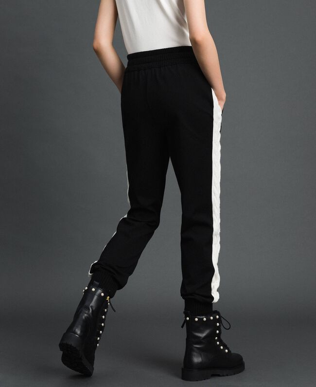 """Jogging trousers with knit inlay Bicolour Black / """"Snow"""" White Woman 192TP2124-04"""