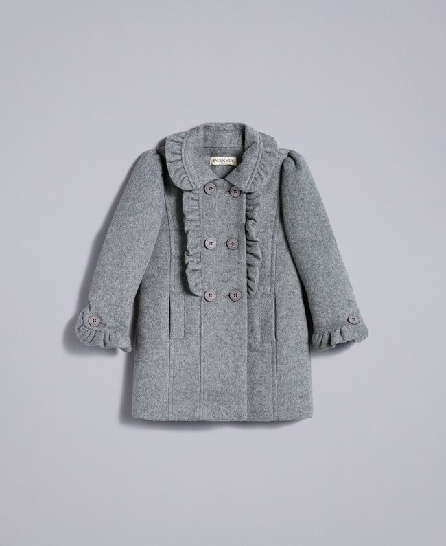 Manteau en drap avec ruches Gris moyen chiné Enfant FA82CG-01