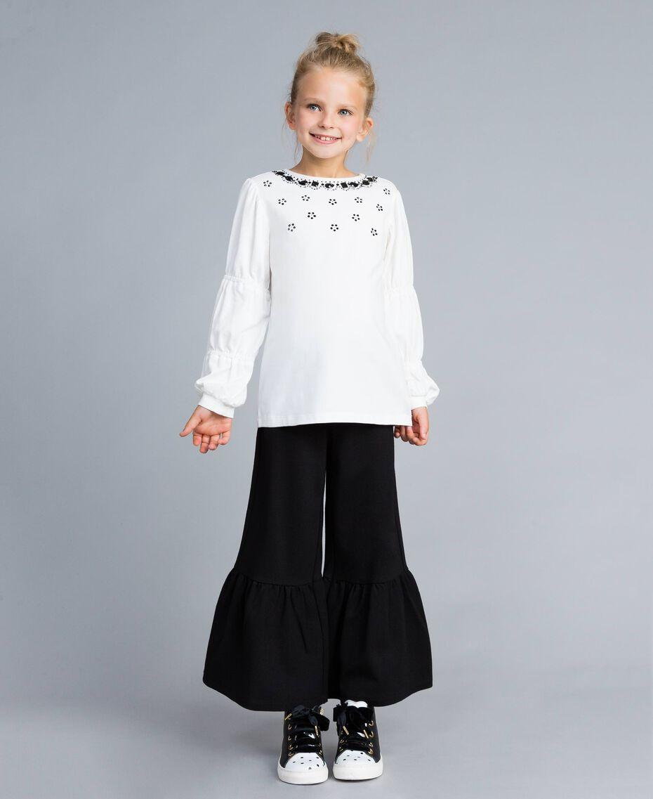 Maxi-T-Shirt mit Strass und Steinchen Mattweiß Kind GA821N-0S