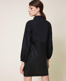 Мини-платье из поплина и искусственной кожи Черный женщина 202ST2052-03