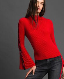Ribbed jumper with jacquard inlay Poppy Red / Black Woman 192MP3010-01