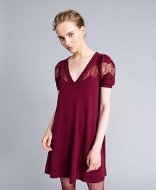 Wool blend dress with lace inlays Bordeaux Woman PA83AA-01