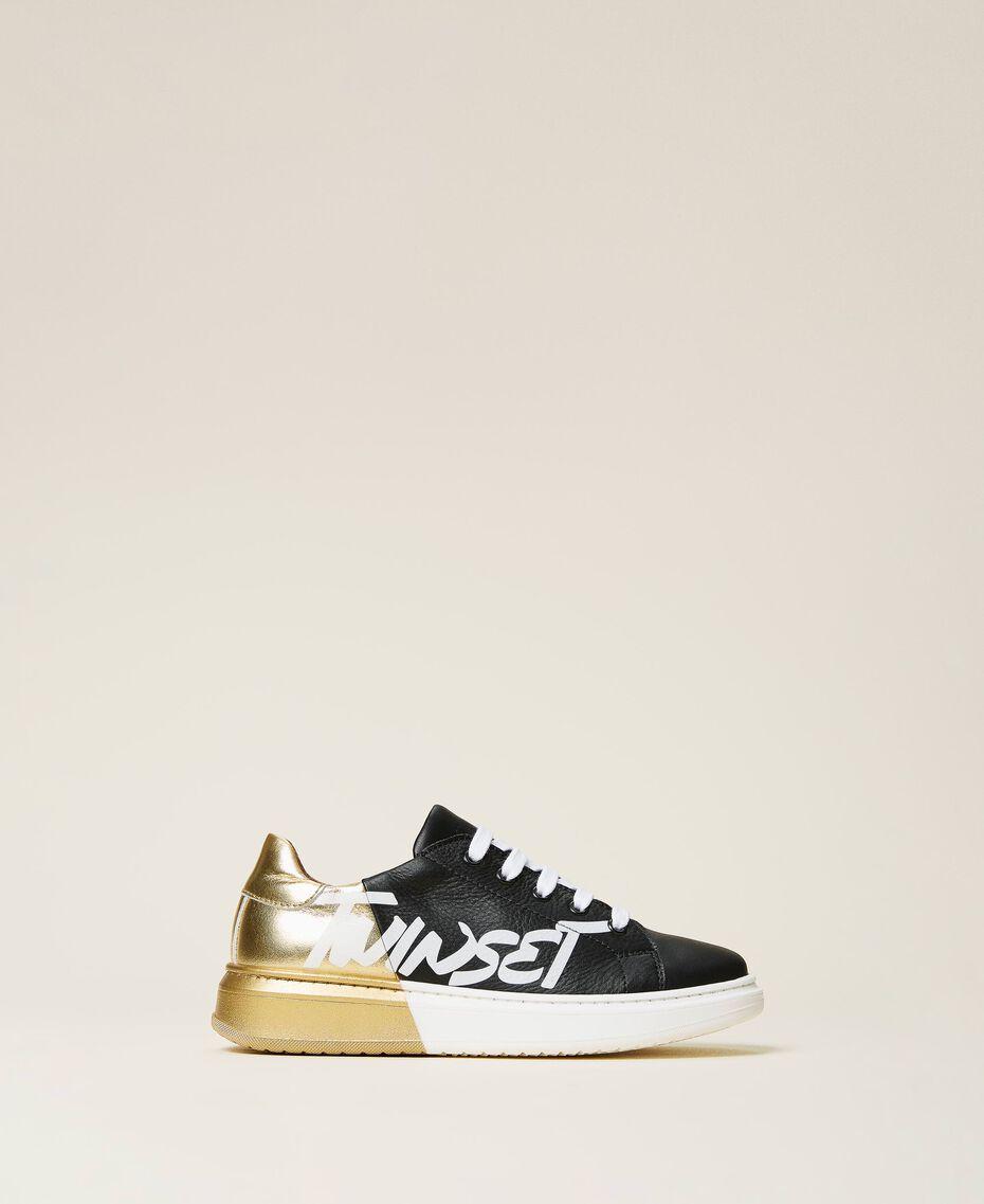 Sneakers de dos colores con logotipo Bicolor Negro / Oro Niño 212GCJ050-03