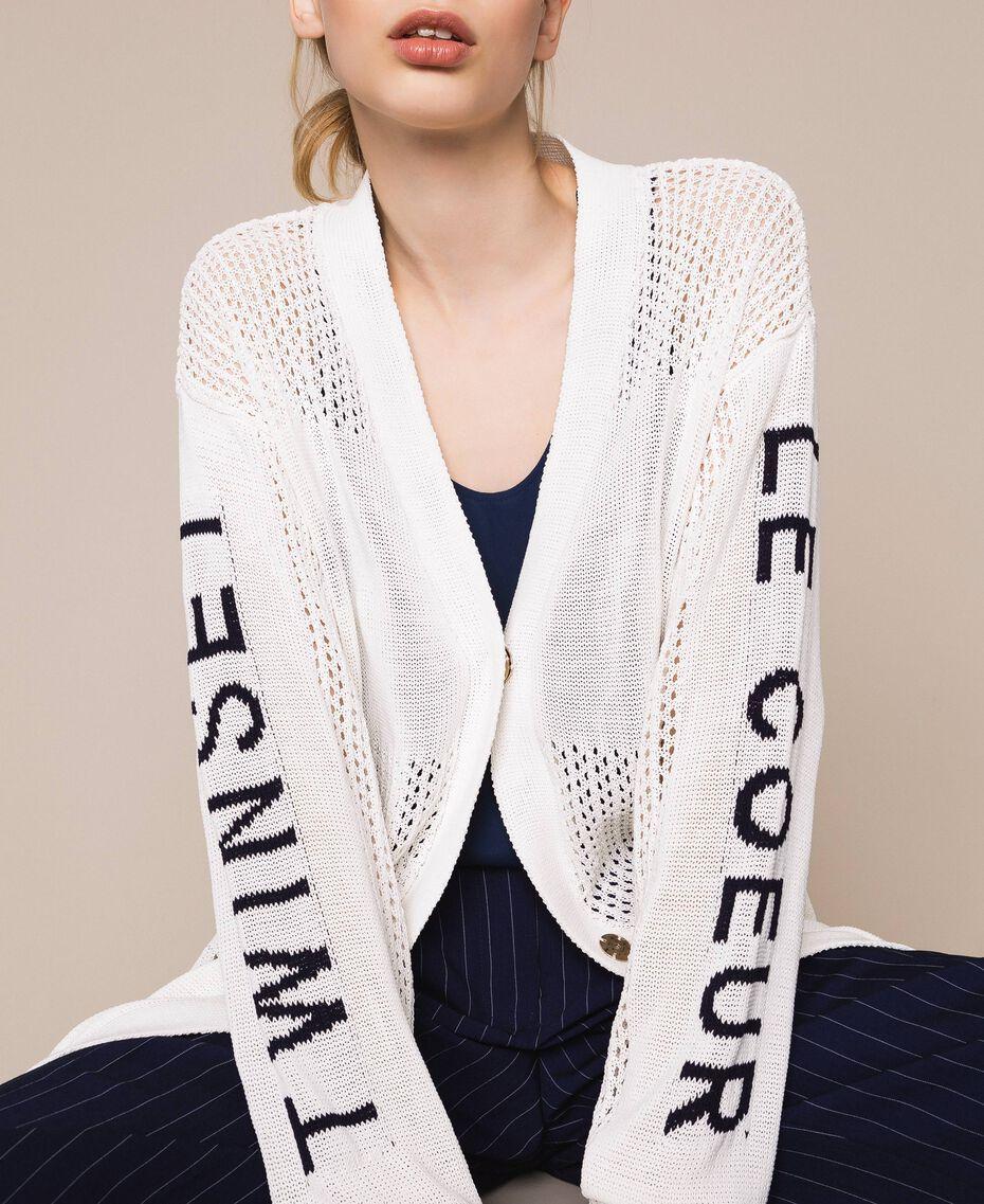 "Длинный ажурный кардиган с логотипом Белый ""Шелк"" женщина 201ST3141-01"