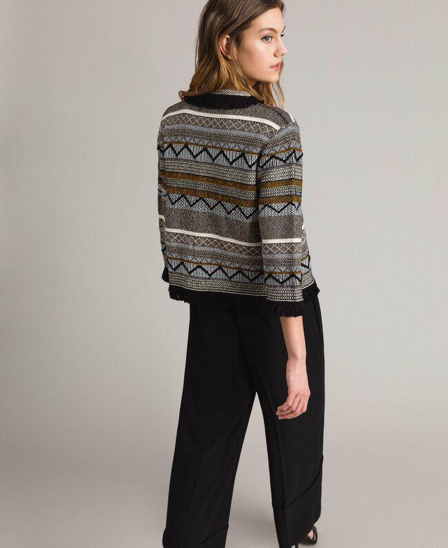 Rundhals-Jacke mit Inlay-Details und Fransen Streifen Multicolour Neutral Grau Frau 191TT3161-03