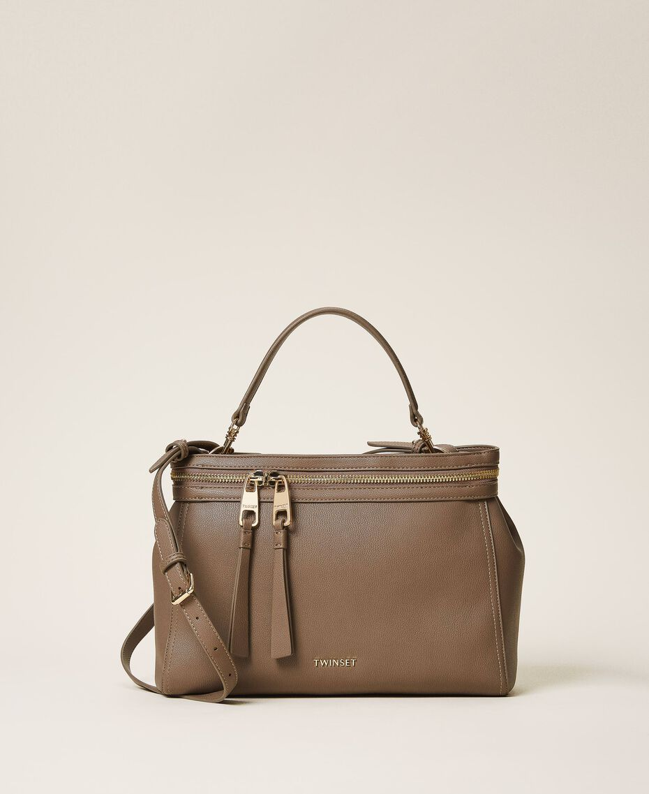 Large faux leather New Cécile bag Turtledove Woman 202TB7180-01