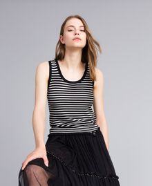 Two-tone striped top with ruches Black / Mother-of-pearl White Stripe Woman JA83BQ-01