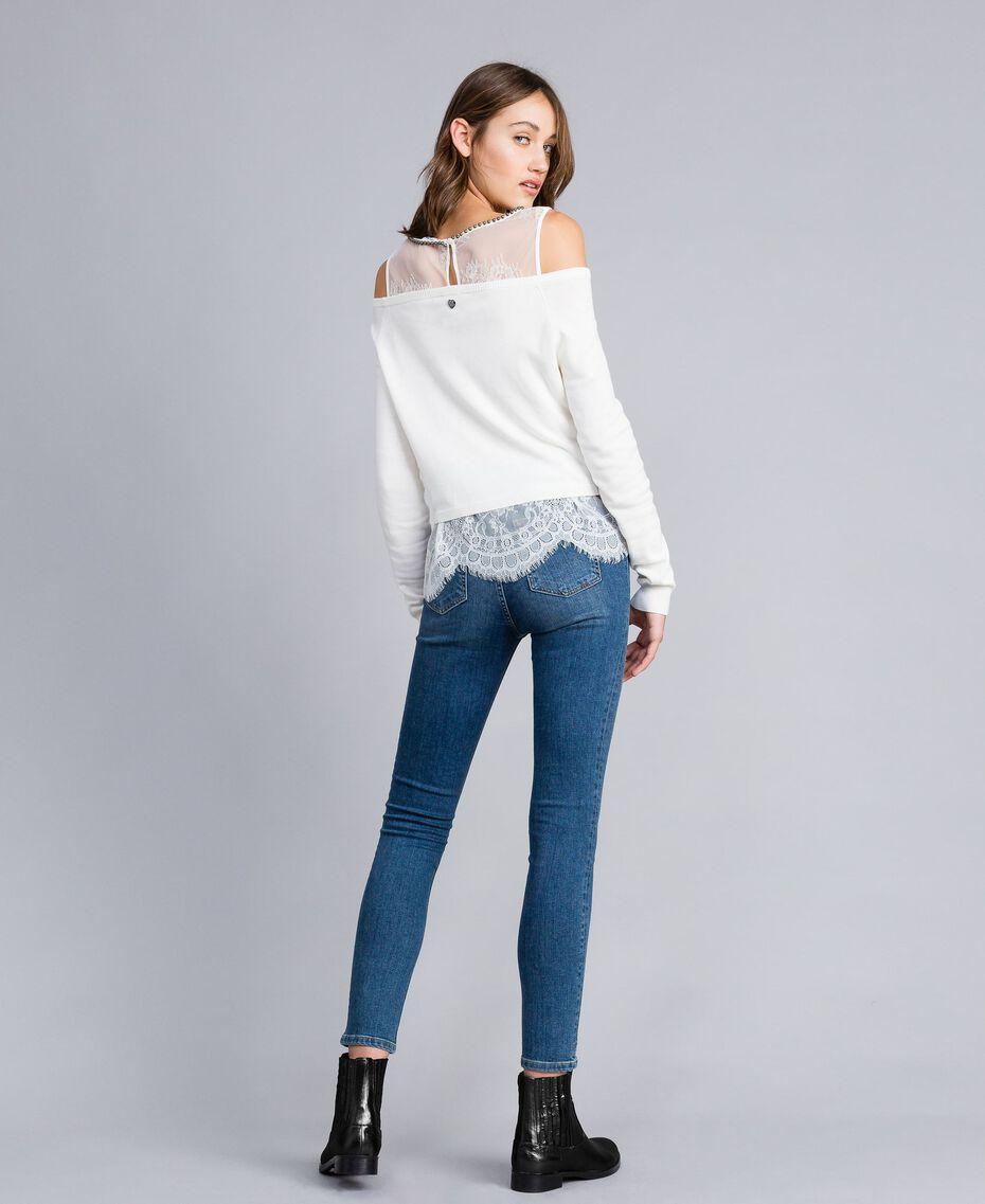 Embroidered skinny jeans Denim Blue Woman JA82V4-03