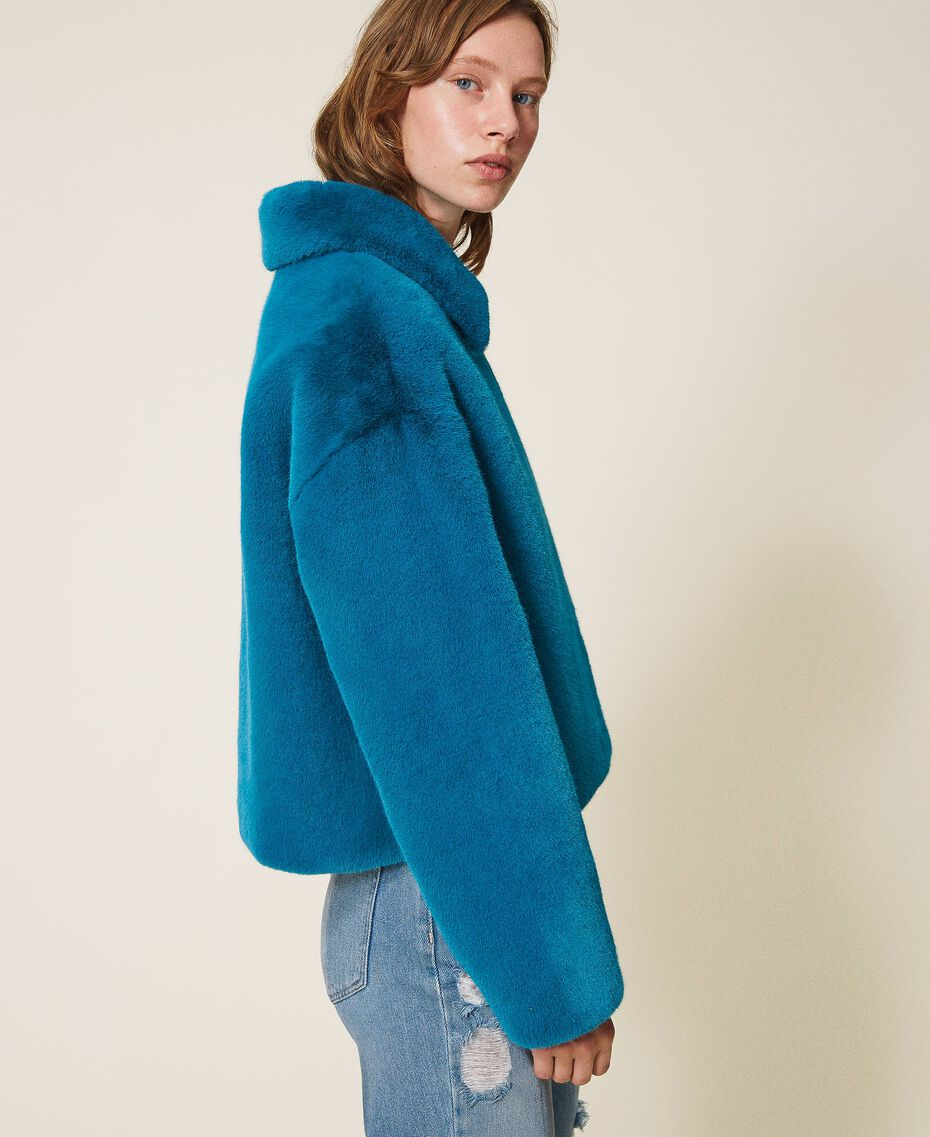 Faux fur jacket Blue Baltic Blue Woman 202TP2334-02