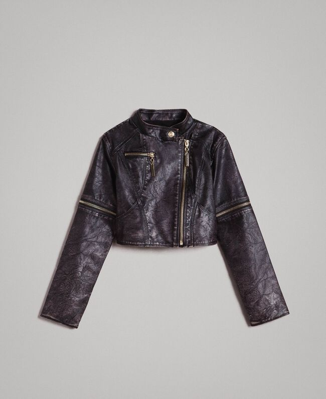 Faux leather jacket with zip Black Child 191GJ2103-01