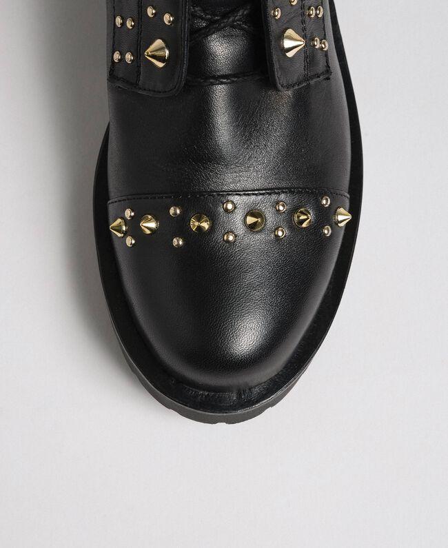 Bottines motardes en cuir avec clous Noir Femme 192TCP018-04