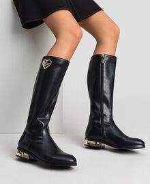 Logo boots with decorative heel Black Woman 192MCP022-0S