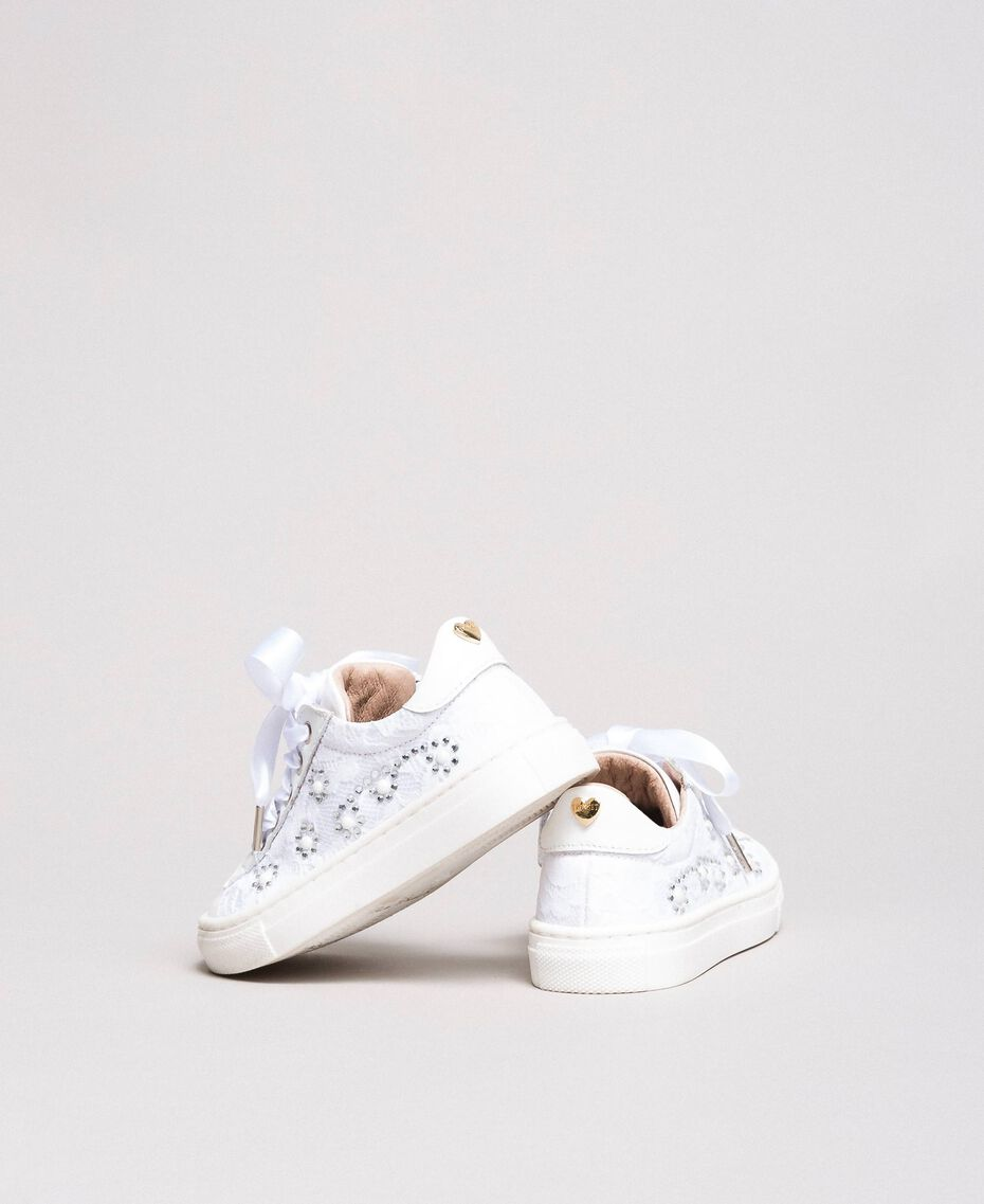 Sneakers with pearls and rhinestones Pale Cream Child 191GCB060-0S