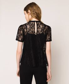 Lace blouse with flounce Black Woman 201ST2150-04