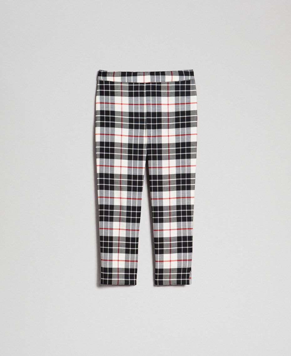 "Wool blend chequered trousers ""Snow"" White Tartan Jacquard Child 192GJ2692-0S"