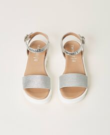Laminated leather sandals with glitter Laminated Silver Grey Child 211GCJ100-05