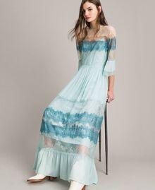 """Robe longue en georgette et dentelle Bicolore Bleu Clair Mikonos / Bleu Clair """"Aigue Marine"""" Femme 191TP2771-01"""