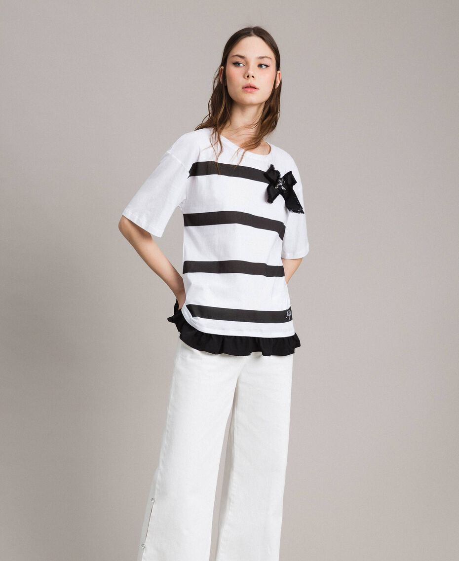Maxi T-shirt  a righe con fiocco Panna White Donna 191MP206C-01