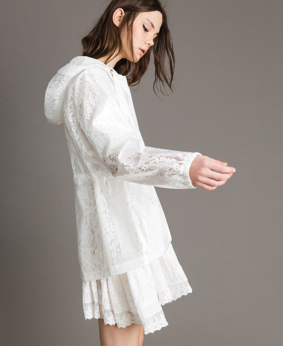 Waxed fabric and lace parka White Woman 191MT2100-03