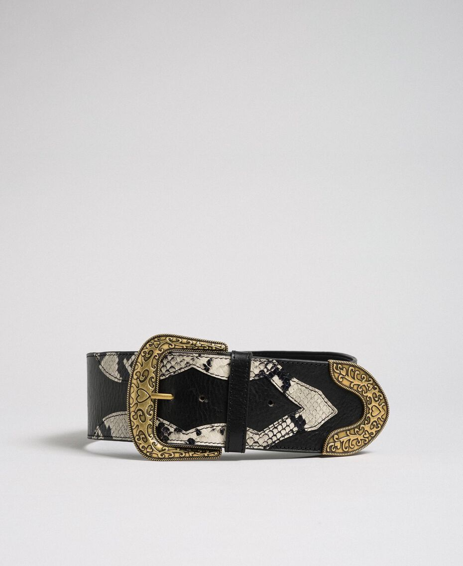 "Leather belt with decorative buckle ""Anthracite"" Grey Python Print Woman 192TO5346-01"