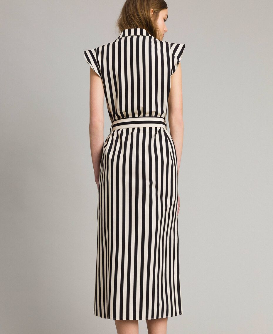 "Poplin striped shirt dress ""Marzipan"" Beige / Black Striped Print Woman 191TT2282-03"
