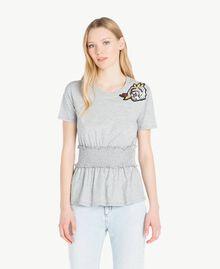 T-Shirt mit Pailletten Grau Melange Frau JS82RB-01